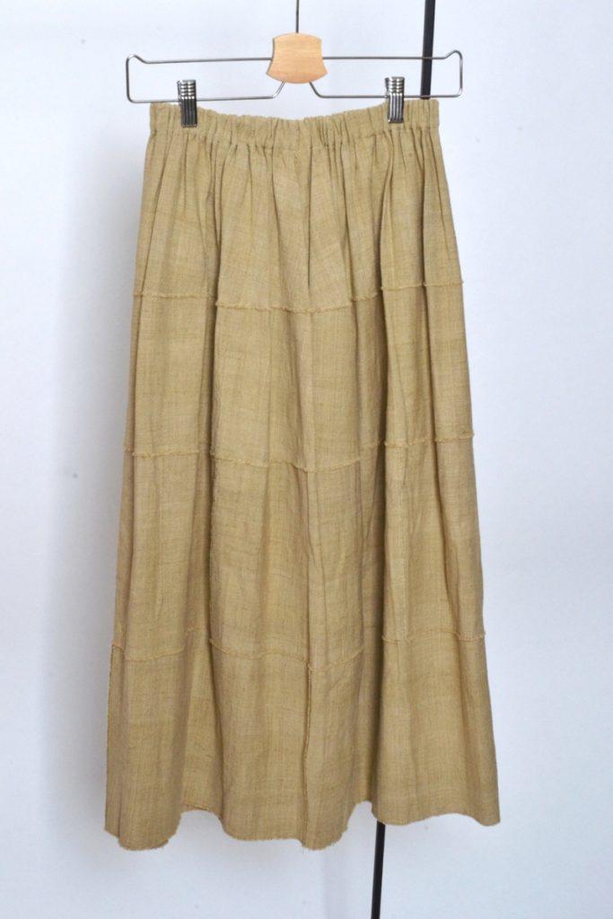 シルク コットン パッチワーク ロング フレア スカート