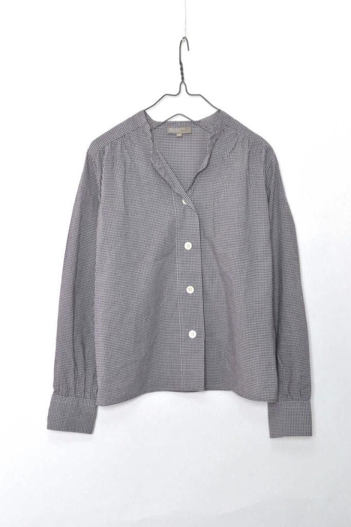 ギンガムチェック スキッパーバンドカラーシャツ