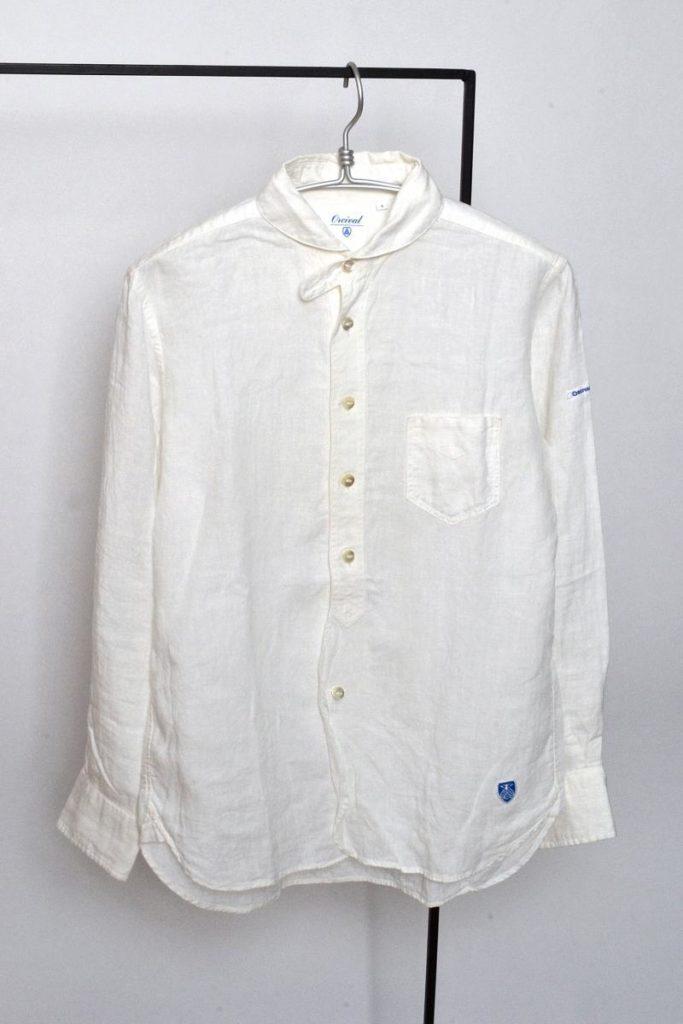 × ORICVAL /  リネンラウンドカラーシャツ