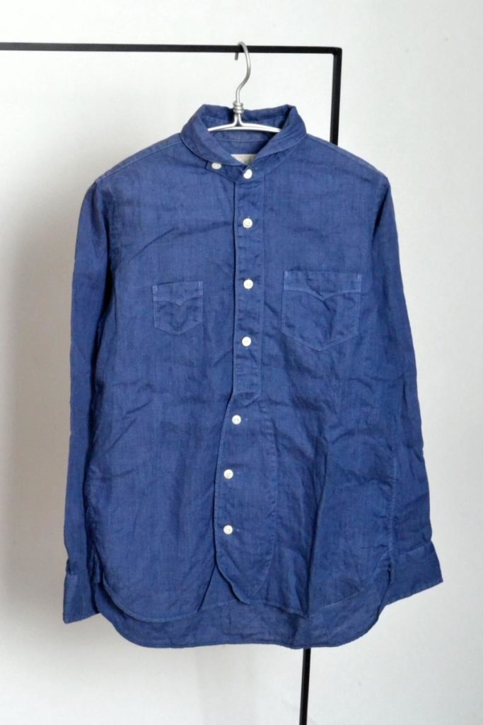 チンスト付き リネン 無地 ラウンドカラーシャツ