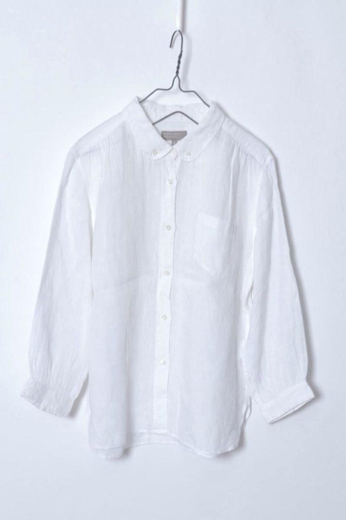 リネン丸襟BDシャツ