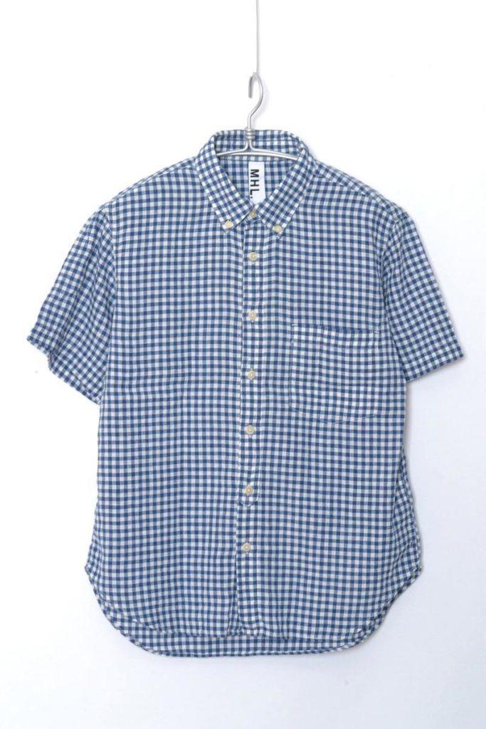 リネンコットン ギンガムチェック ボタンダウン 半袖シャツ