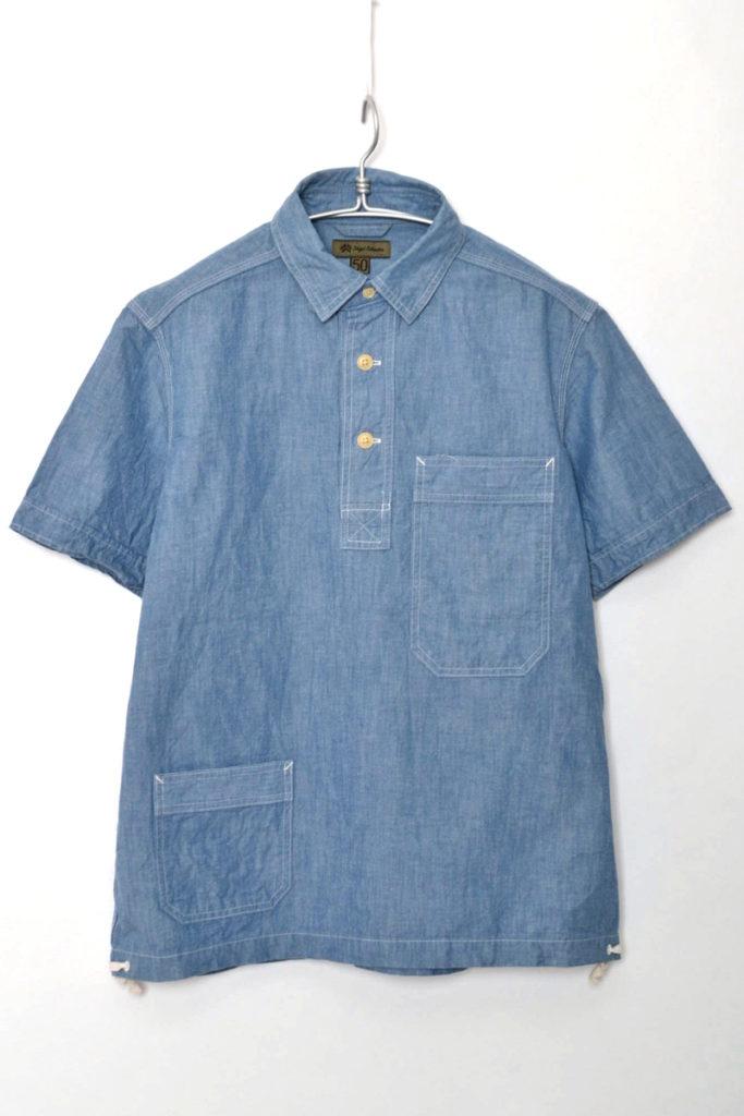 NAVAL SHIRT ナーバルシャツ コットンリネンデニム プルオーバー半袖シャツ