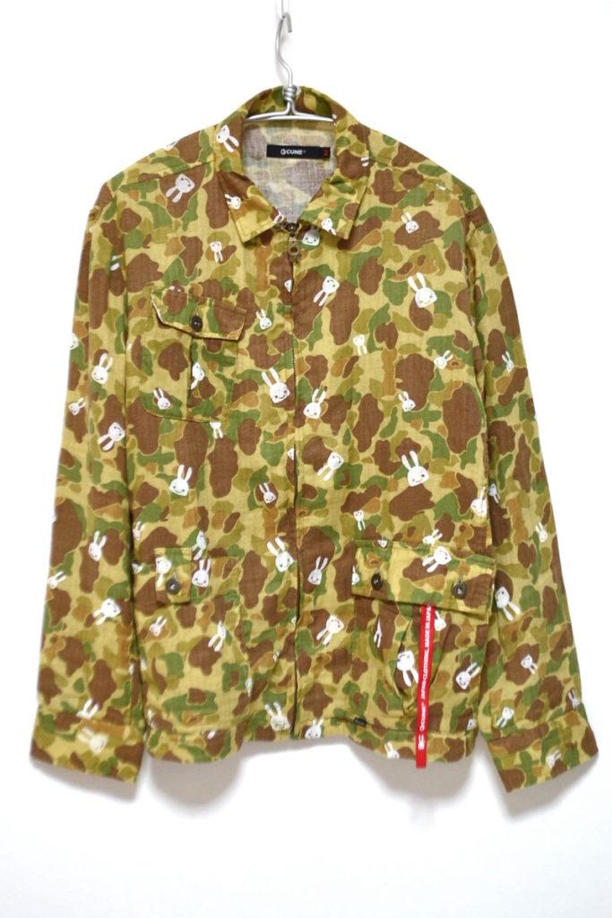 コットンリネン 迷彩柄 ジップシャツジャケット