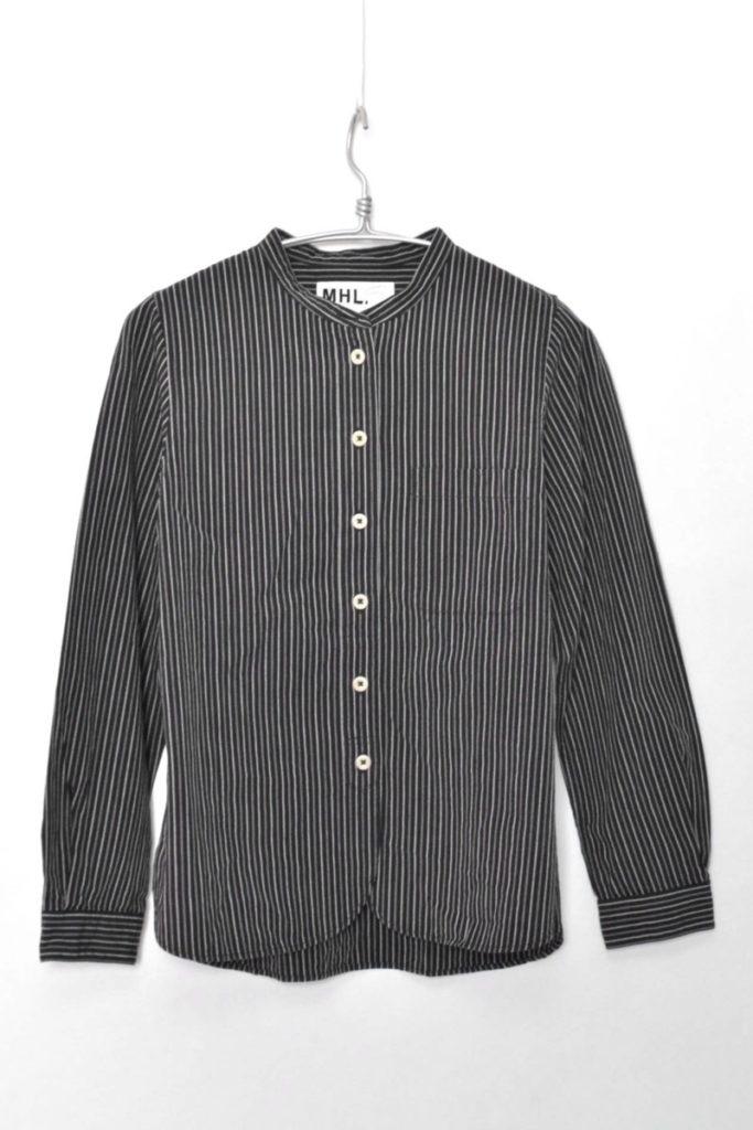 COTTON WOOL STRIPE コットンウールストライプ バンドカラーシャツ