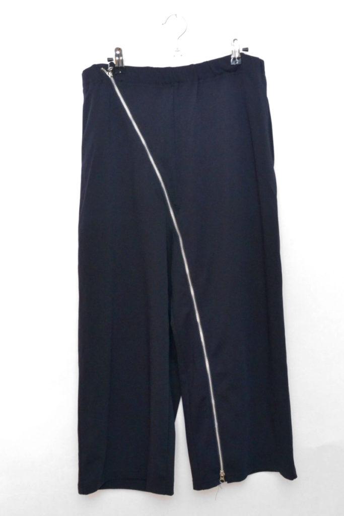 Dry interlock pants 斜めジップ ワイドパンツ