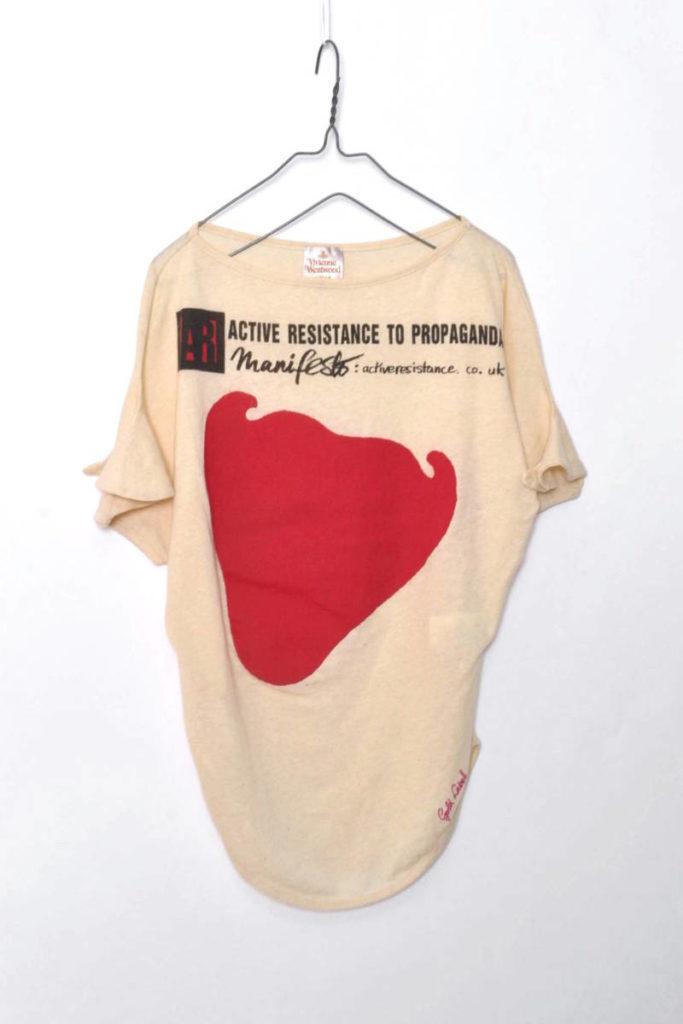 コットンヘンプ 変形プリントTシャツ
