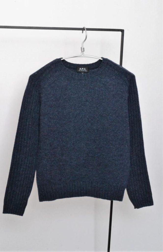 袖リブニット クルーネックセーター