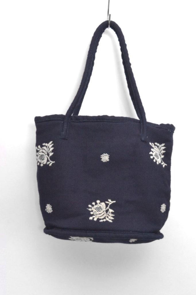 インディゴ刺繍 シャンブレー切替 巾着バッグ