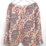 縮絨ウール 花刺繍ニット プルオーバー