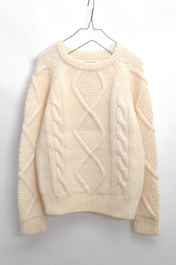 3ゲージ アランクルー ケーブルニットセーター