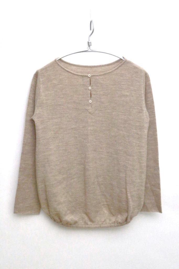 バックギャザー ウールニットプルオーバー セーター