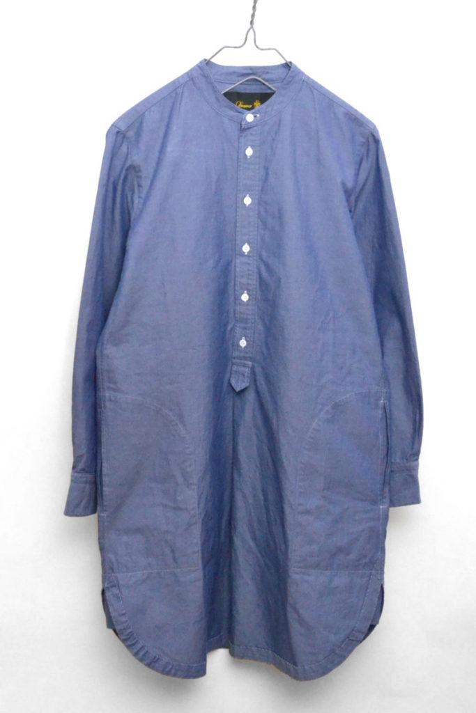 シャンブレーバンドカラー ロングシャツ ワンピース