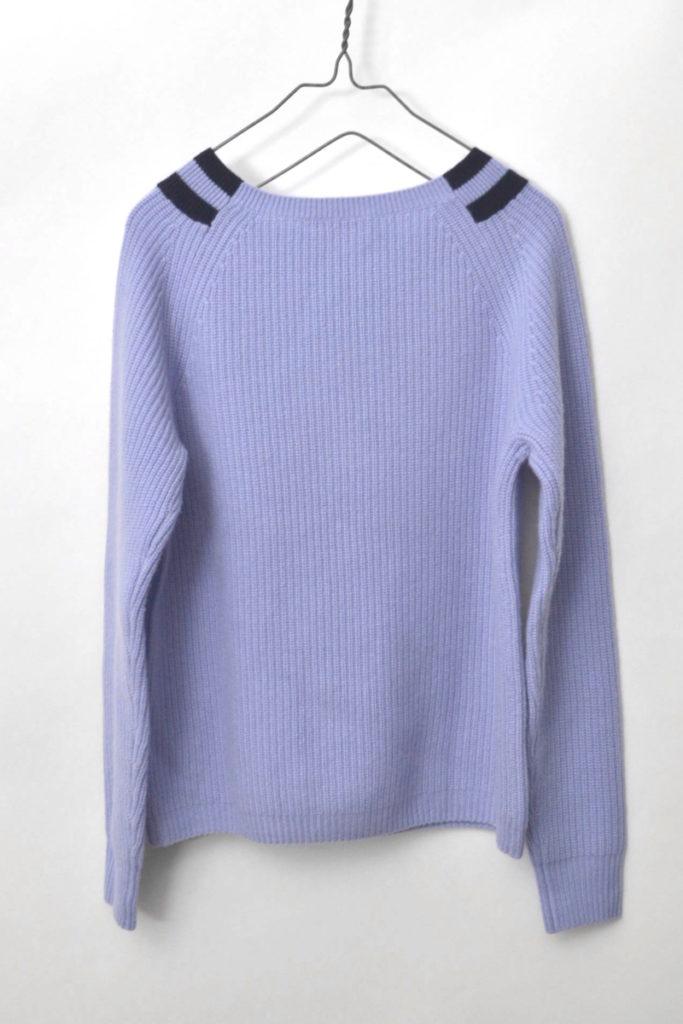 カシミヤ100% リブ編みニット クルーネックセーターの買取実績画像