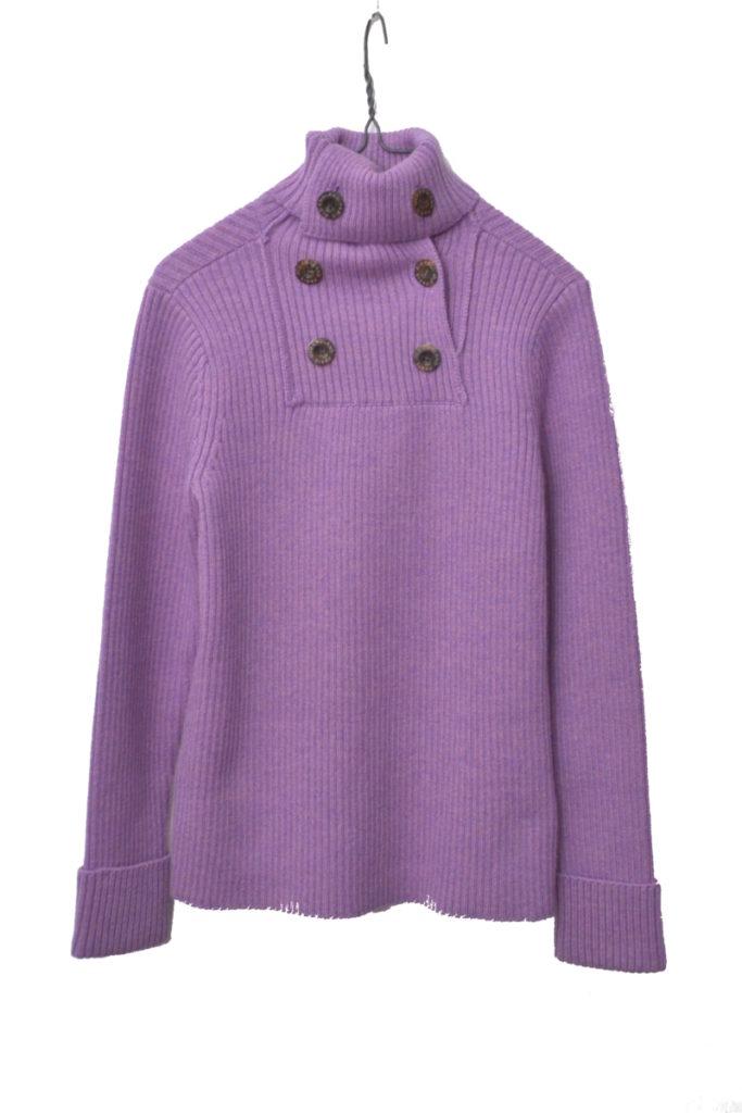 タートルネック ダブルボタン リブ編みニットセーター