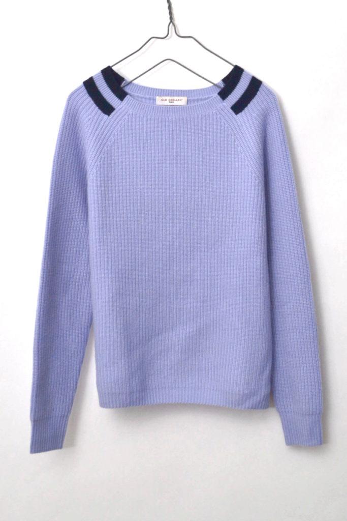 カシミヤ100% リブ編みニット クルーネックセーター