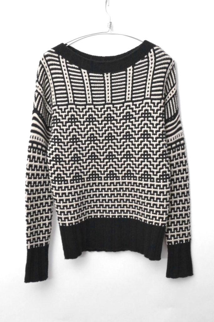 柄編みドロップショルダーニット セーター