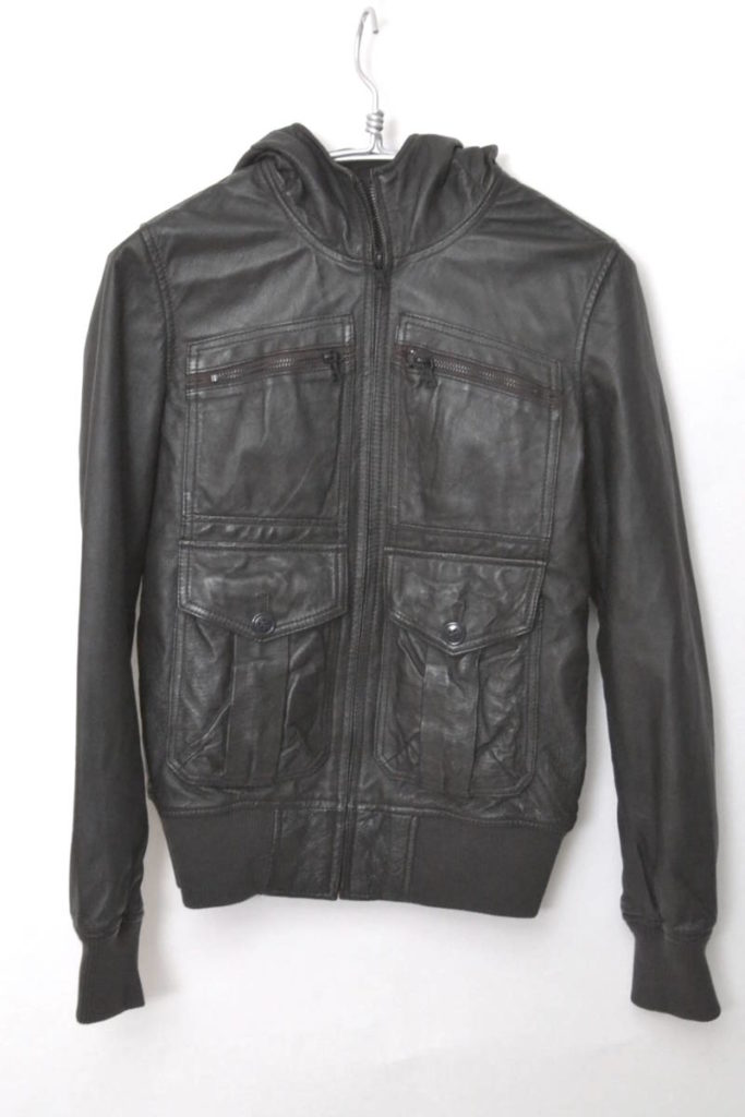 PIG LEATHER HOODED JACKET フードレザージャケット