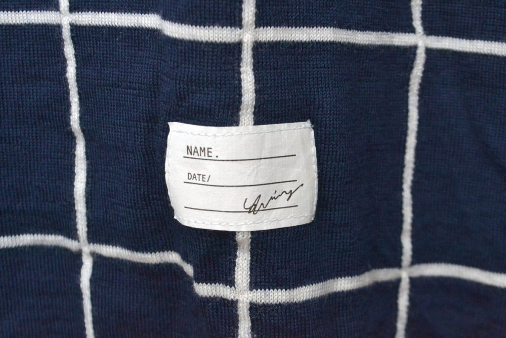 チェック×無地 ウール ハイゲージ タートルネックニット セーターの買取実績画像