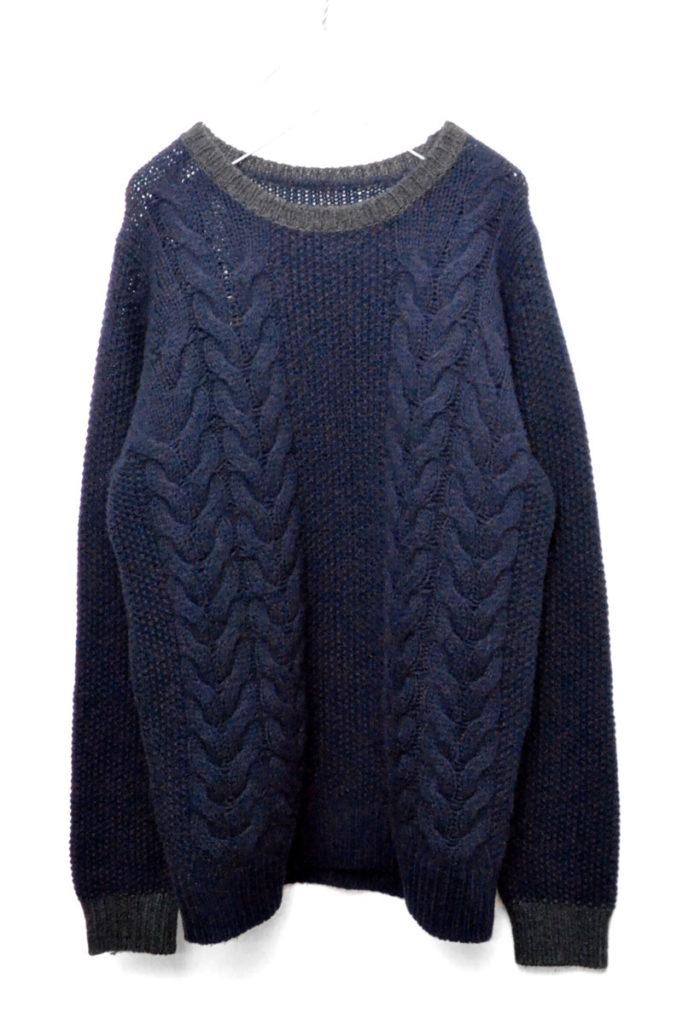 CABLE CREW NECK KNIT ケーブルクルーネックニットセーター
