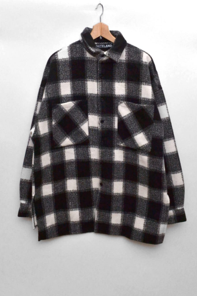 WHITELAND BackPrint Check Shirts バックプリント チェック ビッグシルエットシャツ
