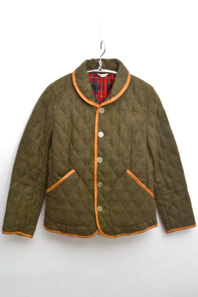 レザーパイピング ウールキルティングジャケット