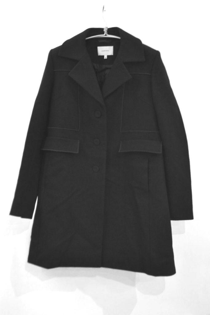 seam detail buttoned coat クルミボタン メルトンAラインコートの買取実績画像