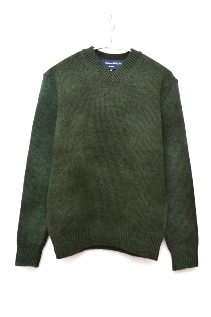 製品染め バイカラー ウール Vネックニット セーター