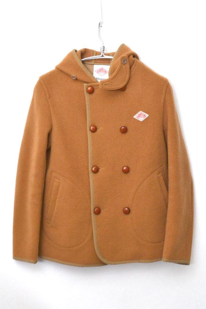 ウールモッサ ダブルボタンフード付きジャケット