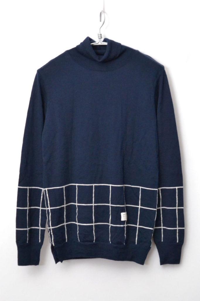 チェック×無地 ウール ハイゲージ タートルネックニット セーター