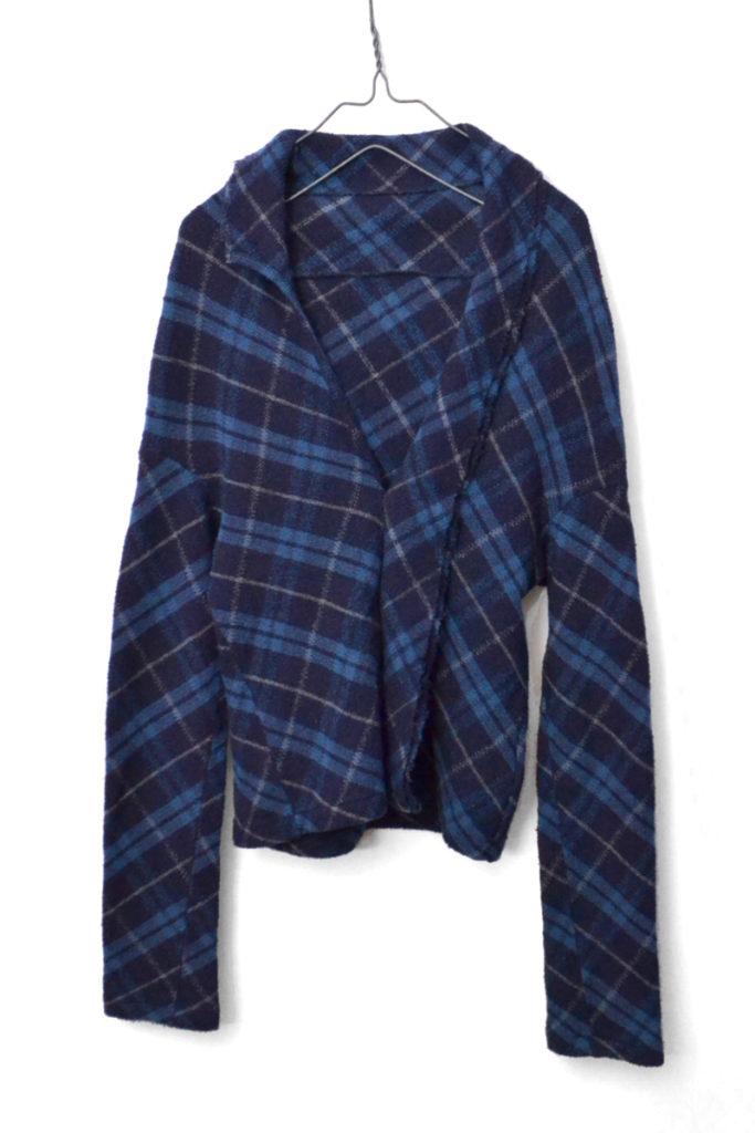 ウールナイロンアンゴラ変形チェックジャケット