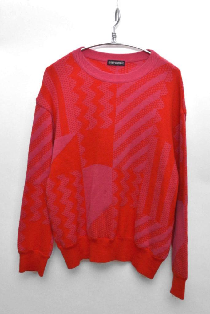 ウールコットン 総柄ニット セーター