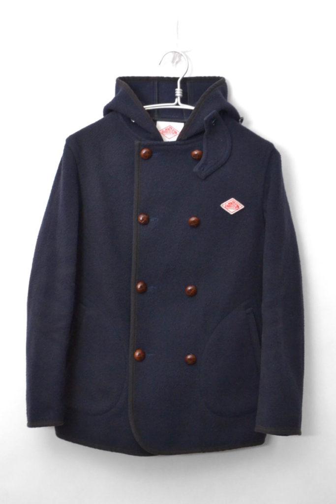 ウールモッサ ダブルボタン フードジャケット コート