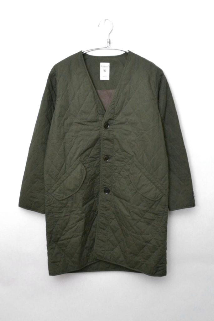 ノーカラーキルティングジャケット コート