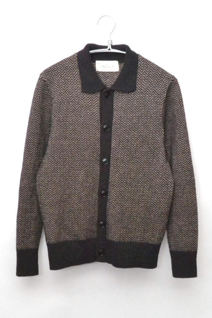 Wool Linen Herringbone Knit Cargidan ウールリネン ニット カーディガン