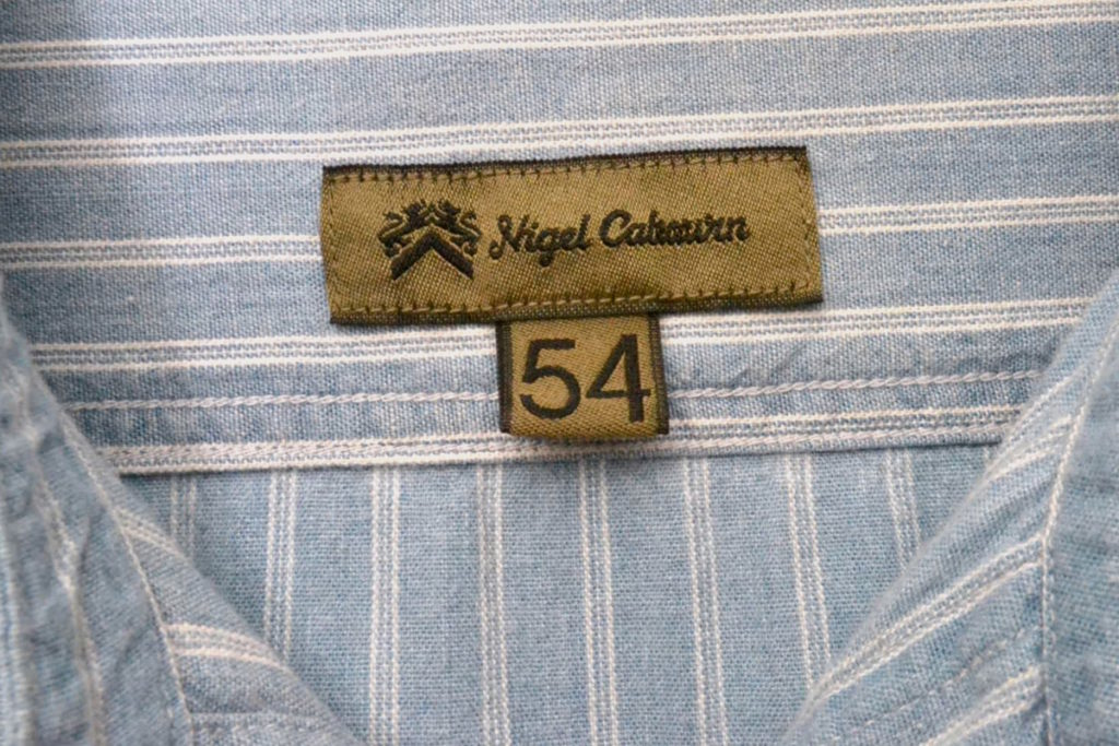 コットン ストライプ バンドカラーシャツの買取実績画像