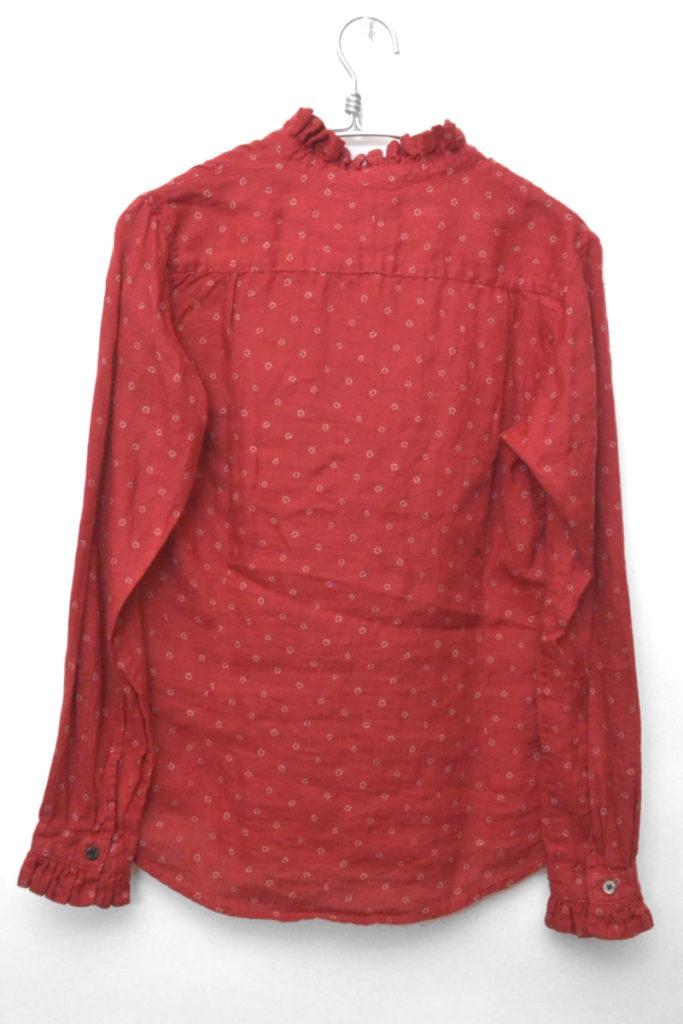 2018SS/ターキーレッドクロス小花プリント フリルDUKEカラーシャツの買取実績画像