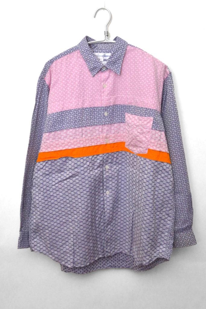 クレイジーパターン パッチワーク 総柄長袖シャツ