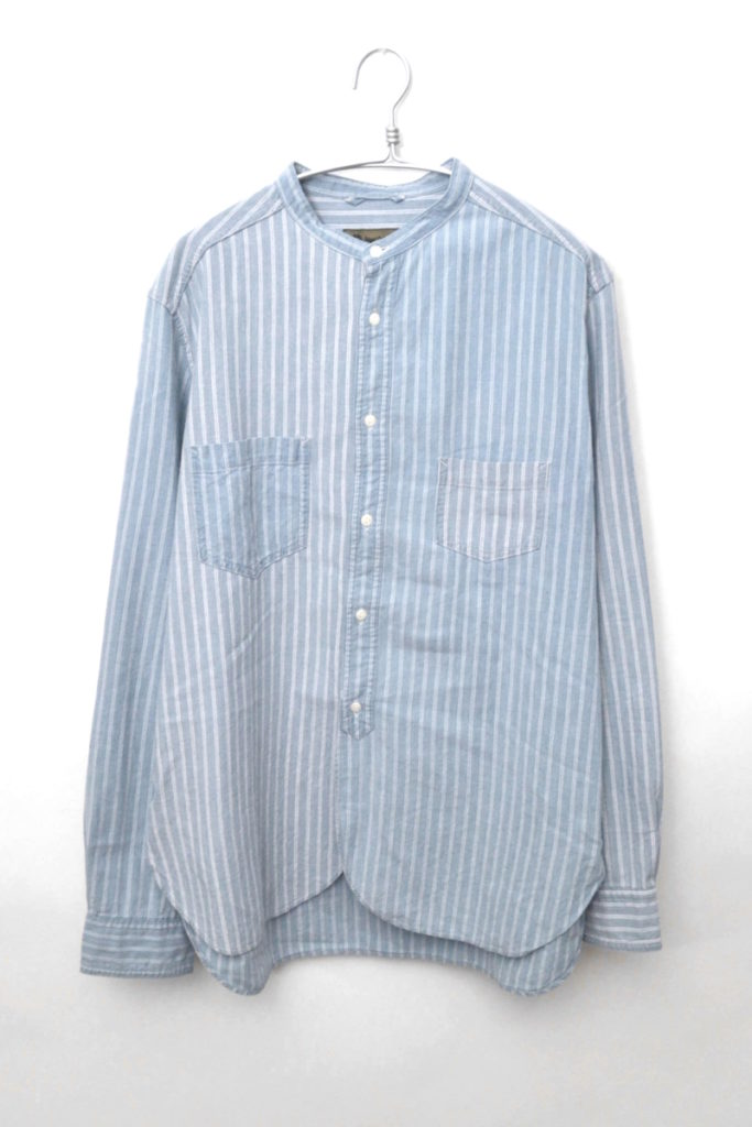 コットン ストライプ バンドカラーシャツ