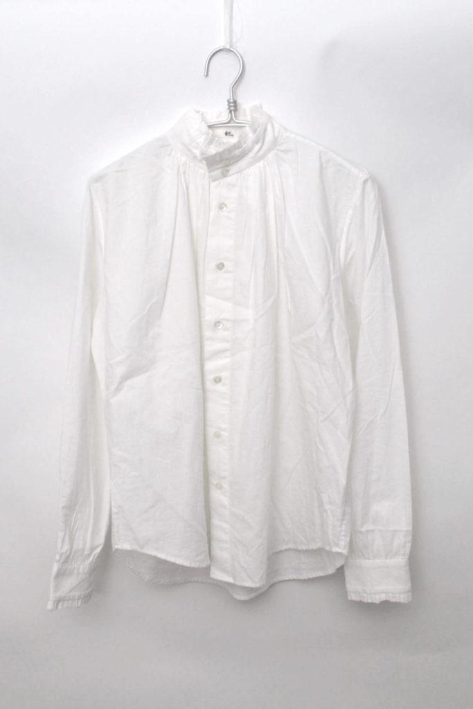 スタンドカラー コットンフリル ギャザーシャツ