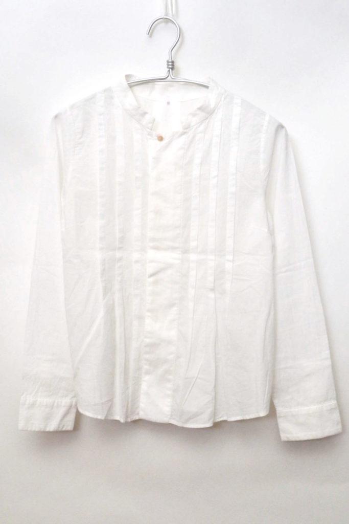 スタンドカラー フロントプリーツシャツ