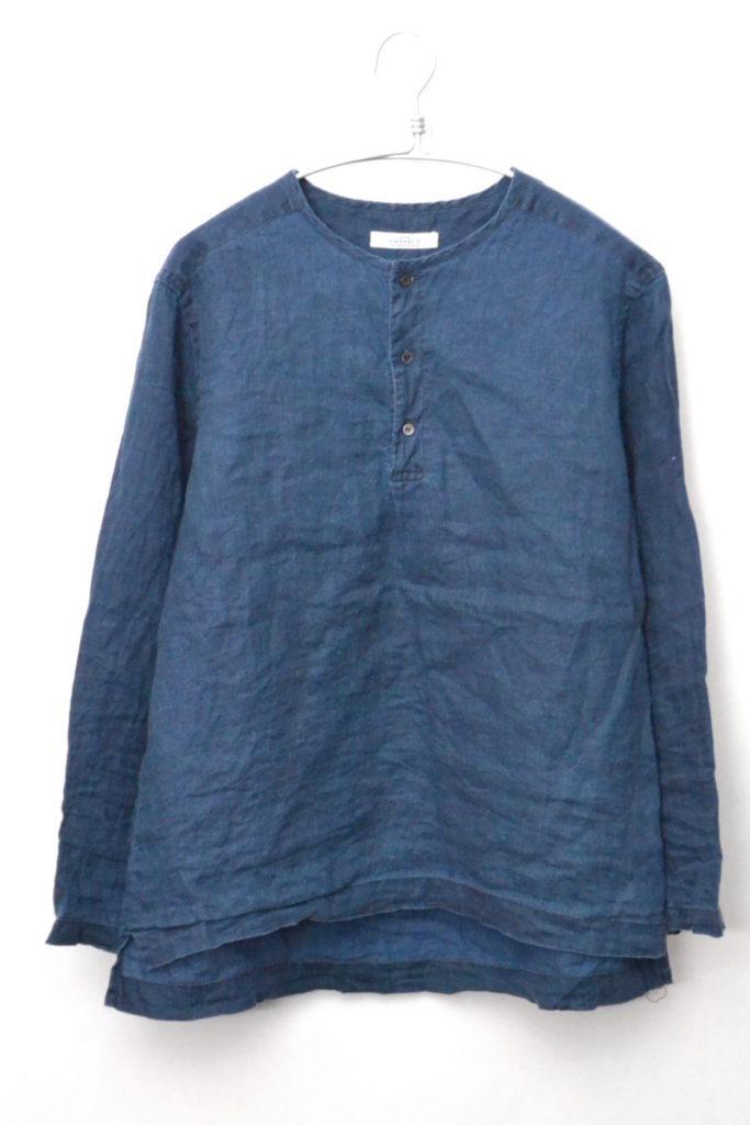 2016SS/Linen pullover Shirts インディゴリネン ヘンリーネック プルオーバーシャツ