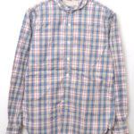 チンスト付きチェックラウンドカラーシャツ