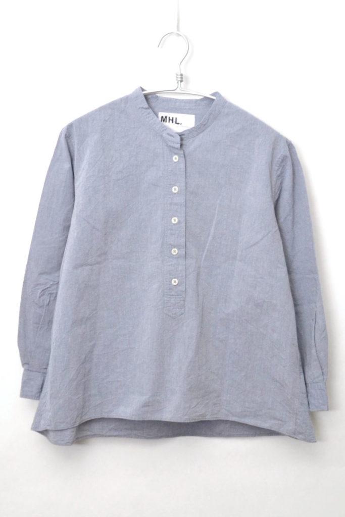 2018SS/ DRY COTTON CHAMBRAY バンドカラー シャンブレーシャツ