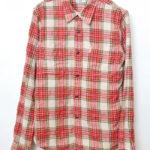 刺繍チェック 長袖ワークシャツ