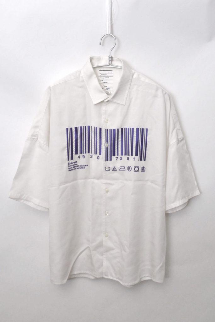 "2018SS/""BARCORD"" EMB. S/S BIG SHIRTS バーコード テンセル半袖 ビッグシャツ"