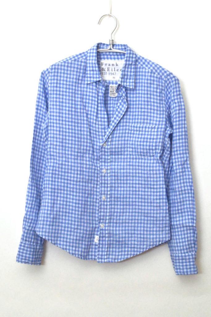 BARRY 日本限定 リネン ギンガムチェック スキッパーシャツ