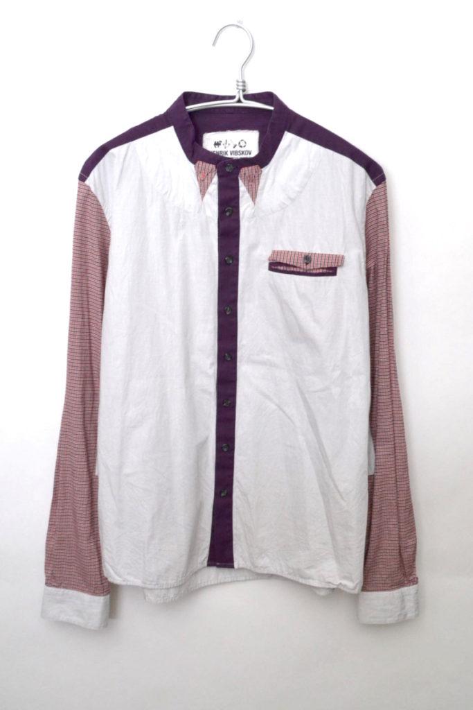 チェッククレイジーパターン ノーカラー長袖シャツ