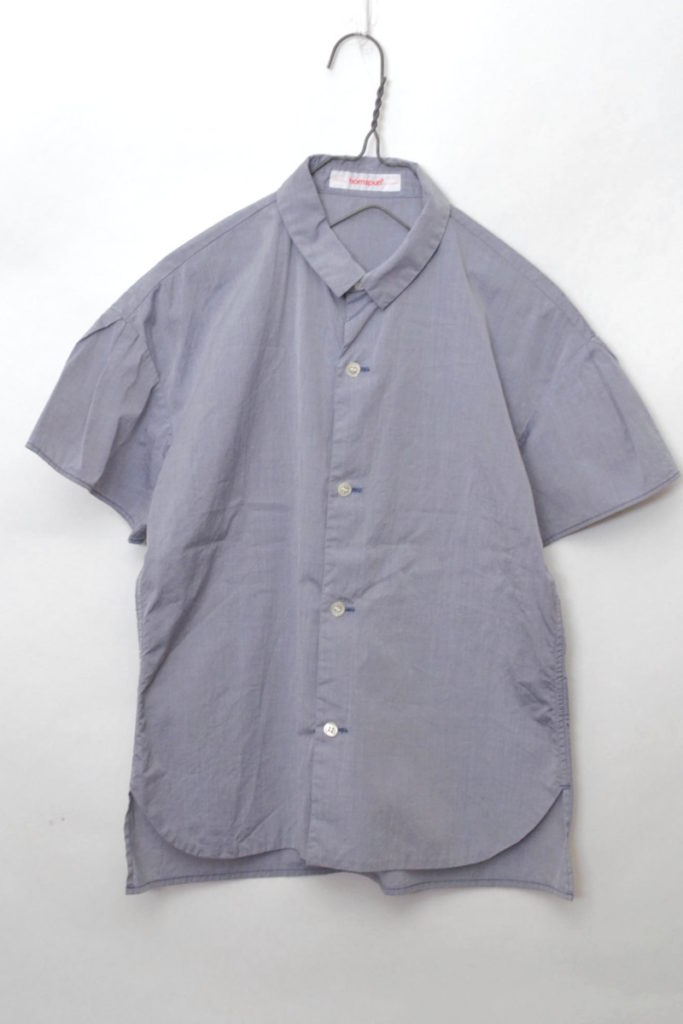 コットンポプリン フレアスリーブ 半袖シャツ