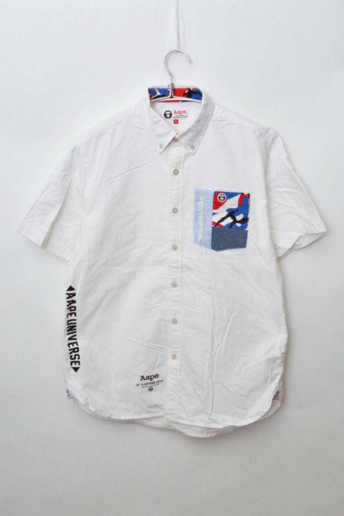 AAPE BY A BATHING APE/ポケット切替 半袖オックスフォードBDシャツ